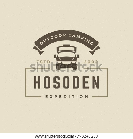 Camping Logo Emblem Vector Illustration Outdoor Camper Vehicle Silhouette For Shirt Print Stamp