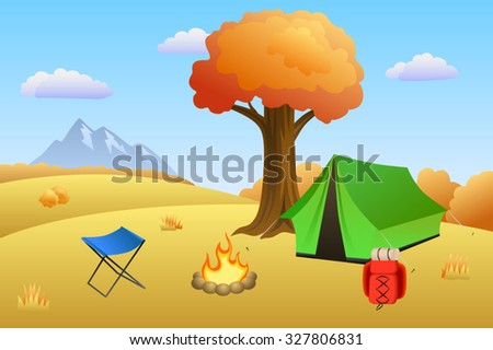 Camping meadow autumn landscape day tent campfire tree illustration vector - stock vector