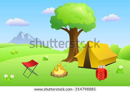 Camping meadow summer landscape day tent campfire tree illustration vector - stock vector