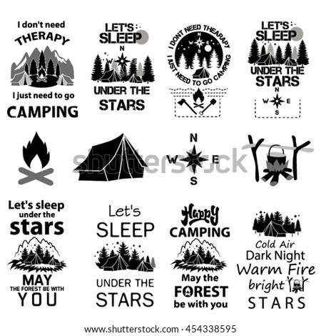 Camping Mountain T shirt - stock vector