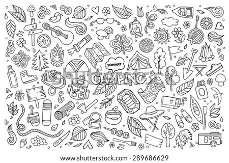 Camping nature hand drawn vector symbols and objects - stock vector