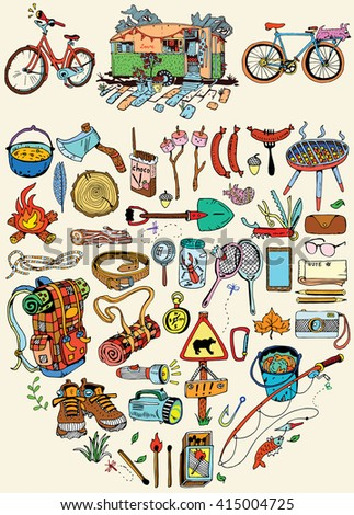 Camping objects set - stock vector