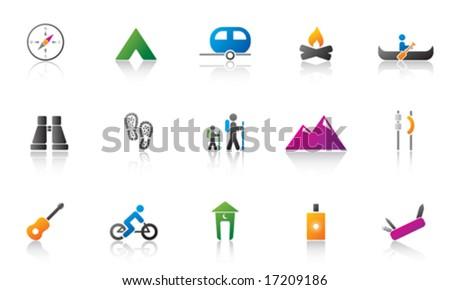 Camping / Outdoor Icon Set - Color version - stock vector