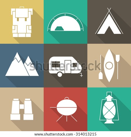 Camping outline icon set of mountain exploration or scout elements. Travel, hiking, climbing simple shaped pictograms for adventure web and applications. Ecological travel equipment.
