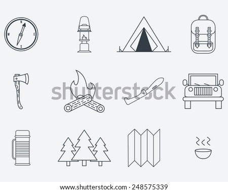 Camping outline icons