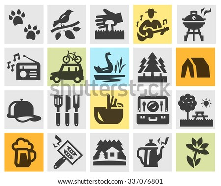 camping set black icons. signs and symbols - stock vector