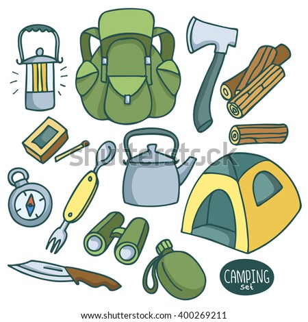 C&ing set tent knife Swiss Army knife flashlight compass water  sc 1 st  Shutterstock & Camping Set Tent Knife Swiss Army Stock Vector 400269211 ...