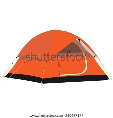 Camping tent, camping equipment, tourism, orange tent - stock vector
