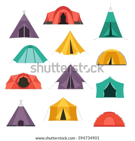 C&ing tents vector icon. Triangle and dome flat design tourist tents. Hiking equipment isolated  sc 1 st  Shutterstock & Camping Tents Vector Icon Triangle Dome Stock Vector 394734901 ...