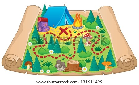 Camping theme map image 2 - vector illustration. - stock vector