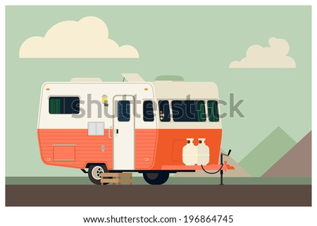Camping trailer on simple landscape background
