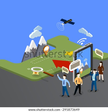 Camping travel outdoor active vacation flat 3d isometric pixel art modern design concept.  - stock vector