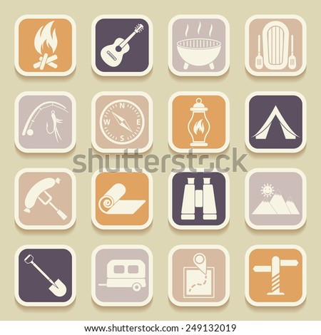 Camping universal icons for web and mobile applications. Vector icons