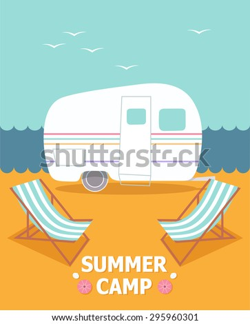 Camping vacations. Illustration of the camping travel - stock vector
