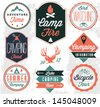 Camping Vector badges and labels in Vintage style - stock photo