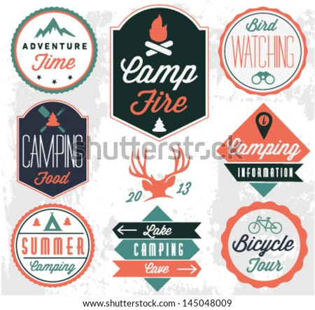 Camping Vector badges and labels in Vintage style - stock vector