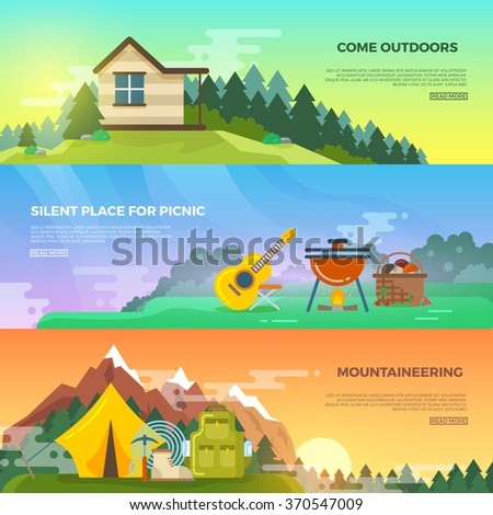 Camping vector flat banner set. Adventure hiking banner, travel mountain banner, tent and backpack, tourism mountaineering banner illustration - stock vector