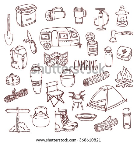 Camping vector icon and symbols set. Doodle contour style camp equipment. Hand drawn sketch style illustration isolated on white background. For use in design, packing, textile, logo. Camping icons - stock vector