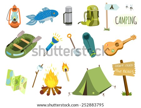 Camping vector set with bonfire, tourist tent, fishing boat, guitar etc. - stock vector