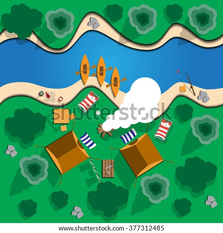 Camping.  View from above. Vector illustration. Applique with realistic shadows. - stock vector