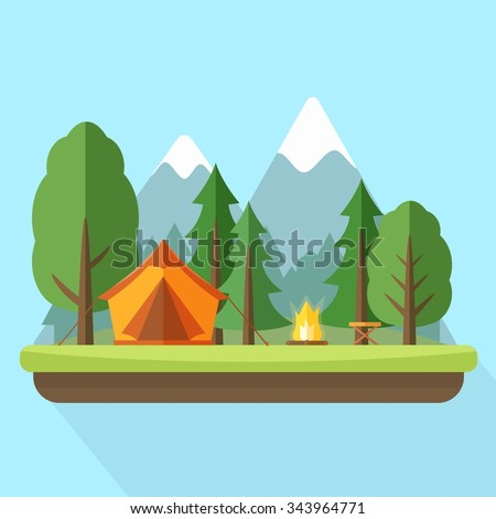 Camping with tend and bonfire and nature landscape. Flat style vector illustration. - stock vector