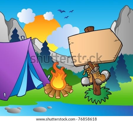 Camping wooden sign on lake shore - vector illustration. - stock vector