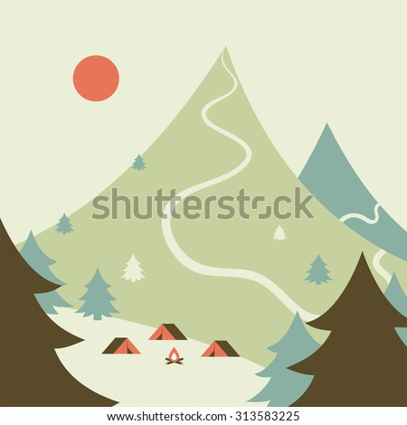 Campsite in the forest. Mountains landscape. - stock vector