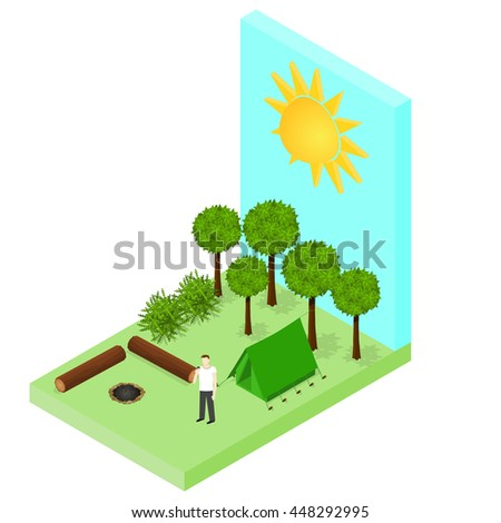 Campsite in the woods. Tent and logs around the campfire. Isometric style. Vector illustration. - stock vector