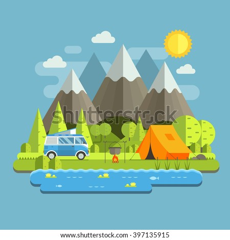Campsite place in mountain lake area. Forest camping travel landscape with rv camper bus in flat design. Summer camp place with traveler bus vector illustration. National park auto trip campground. - stock vector