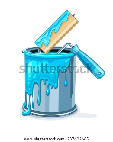 Can bucket with blue paint and roller for painting maintenances. Eps10 vector illustration. Isolated on white background - stock vector