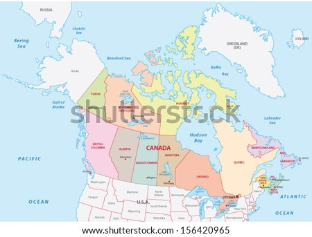 canada administrative map - stock vector