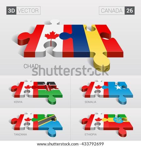 Canada and Chad, Kenya, Somalia, Tanzania, Ethiopia Flag. 3d vector puzzle. Set 26. - stock vector