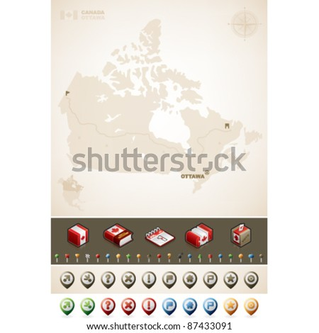Canada and North America Maps plus cartography symbols - stock vector