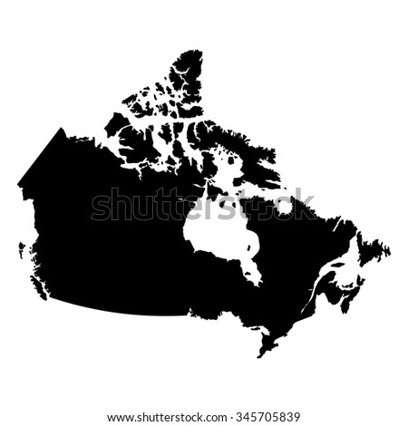 Canada black map on white background vector - stock vector