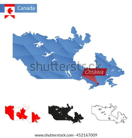 Canada blue Low Poly map with capital Ottawa, versions with flag, black and outline. Vector Illustration. - stock vector