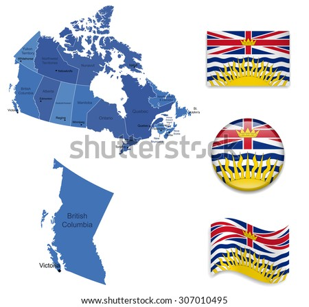 Canada-British Columbia-Map and Flag Collection - stock vector