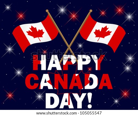 Canada Day background with fireworks, text and flags. Vector illustration.