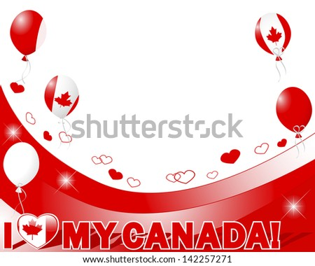 Canada Day. Banner with hearts and balloons. Vector illustration. - stock vector