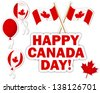 Canada Day stickers with a maple leaves, balloons and flags. 10 EPS. Vector illustration. - stock vector