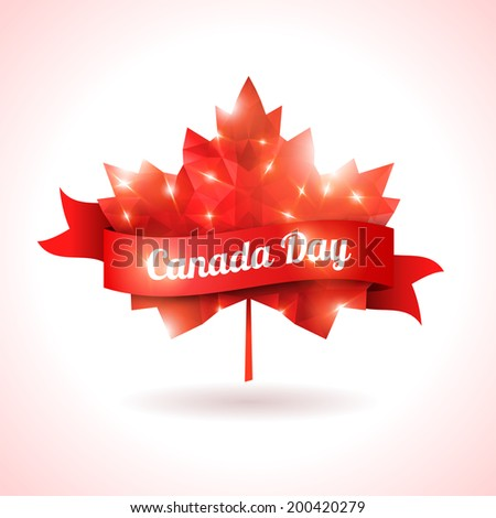 Canada day, vector illustration. Maple leaf with red ribbon. Abstract triangular shape. Symbol of Canada. Sparks and lights, festive design. - stock vector