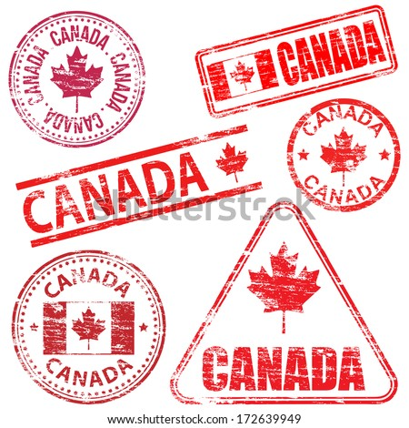 Canada, different shaped rubber stamp vector illustration  - stock vector