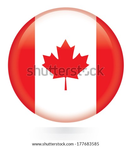 Canada Flag Button  - stock vector