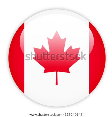 Canada flag button on white - stock vector