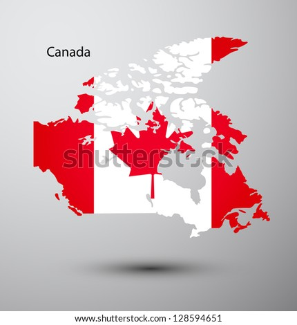 Canada flag on map of country - stock vector