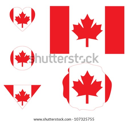 Canada flag sign set, buttons and icons - stock vector