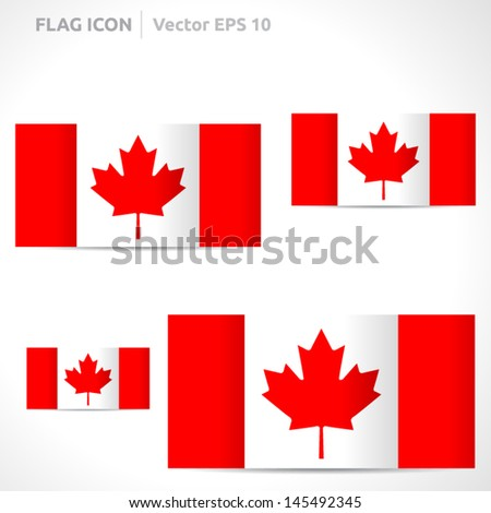 Canada flag template | vector symbol design | color red and white | icon set - stock vector