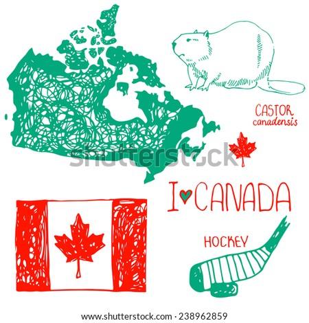 Canada. Hand drawn symbols of Canada. Flag of Canada. The contour of the country. Hockey. Beaver - symbol of Canada. I love Canada. - stock vector