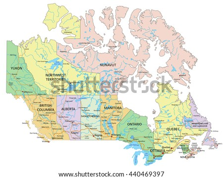 Canada Highly Detailed Editable Political Map Stock Vector - Labeled map of canada