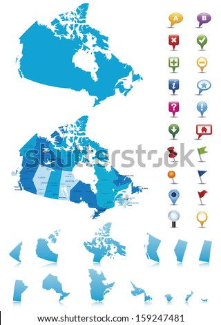 Canada - highly detailed map.All elements are separated in editable layers clearly labeled. Vector  - stock vector