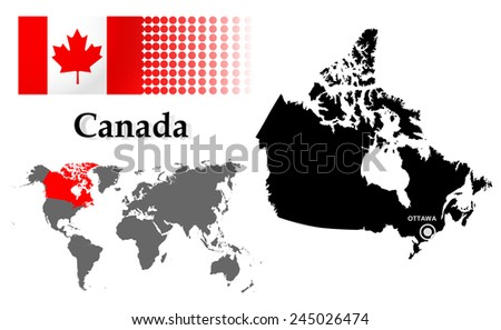 Canada info graphic flag location world vectores en stock 245026474 canada info graphic with flag location in world map map and the capital gumiabroncs Gallery